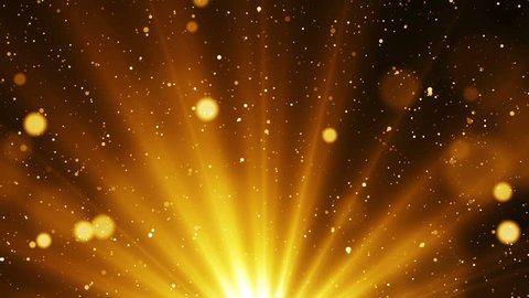 Golden abstract background with shinning particles and glitter sparks come from light at the bottom. Seamless loop.