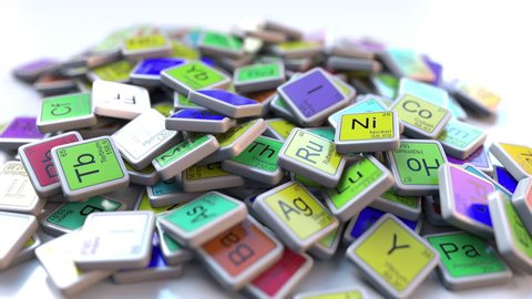 Plutonium Pu block on the pile of periodic table of the chemical elements blocks. Chemistry related intro animation