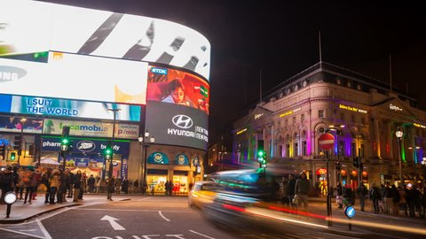 LONDON, DEC 10, Timelapse view of the Piccadilly Circus at rush hour, on December 10, 2012 in London, United Kingdom