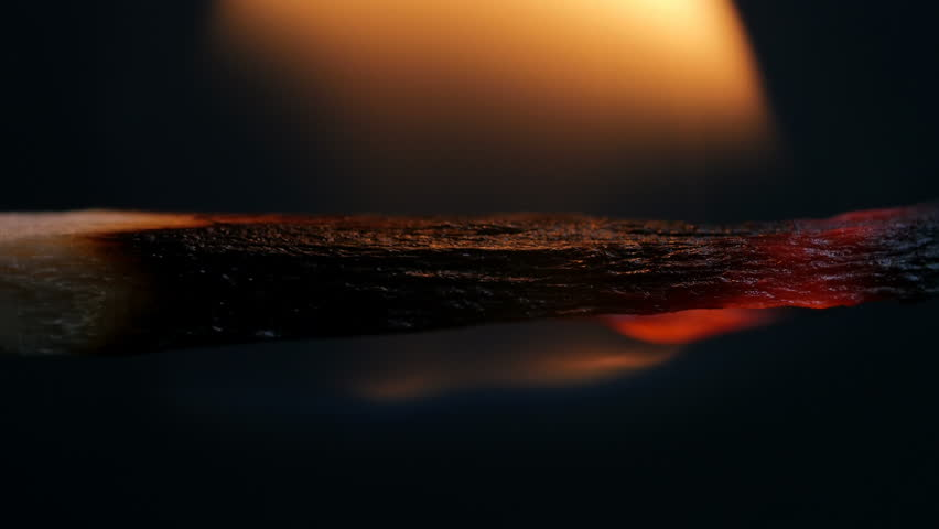 Burning Match On Black Background Macro | Shutterstock HD Video #31535665