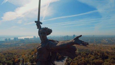 Aerial view top of Mamaev Kurgan in Volgograd, Russia. Motherland Calls.