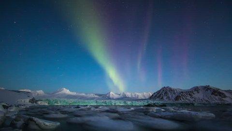 Aurora Borealis in south Spitsbergen. Around the fjord Hornsund..