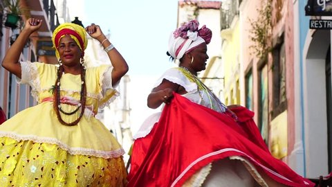 "Brazilian women ""Baiana"" dancing in Pelourinho, Salvador, Bahia, Brazil"