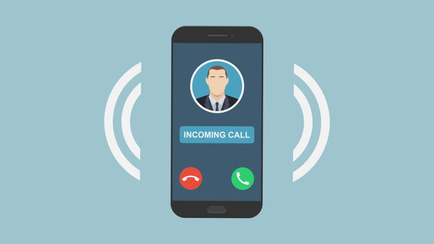 Ringing smartphone animation in flat design style on colored background. Vibrating mobile phone with sound waves, incoming business call. Ultra HD 4k CGI motion 3840 x 2160 mjpeg with alpha channel.