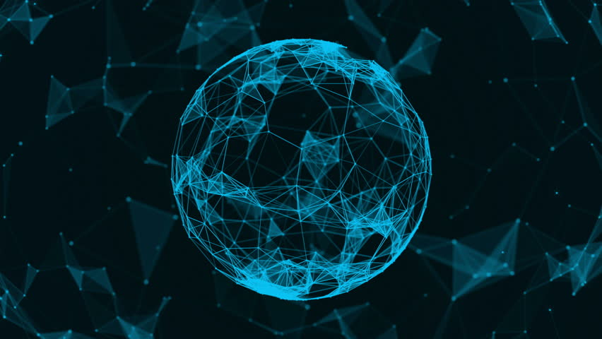 Beautiful. Futuristic world. The sphere consists of triangles, points and lines. Abstract background for business presentations. Loop animation