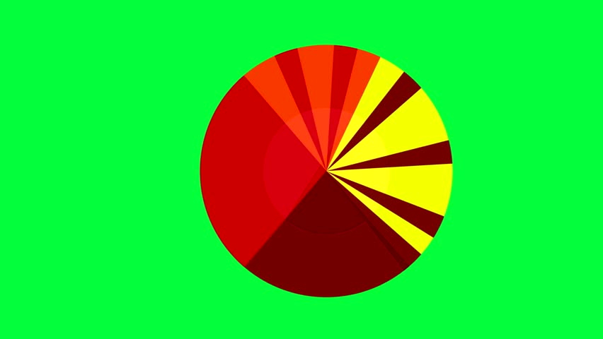 chart with different proportions, painted in different colors. inside the chart turns and the different parts follow each other. animated video. used green screen