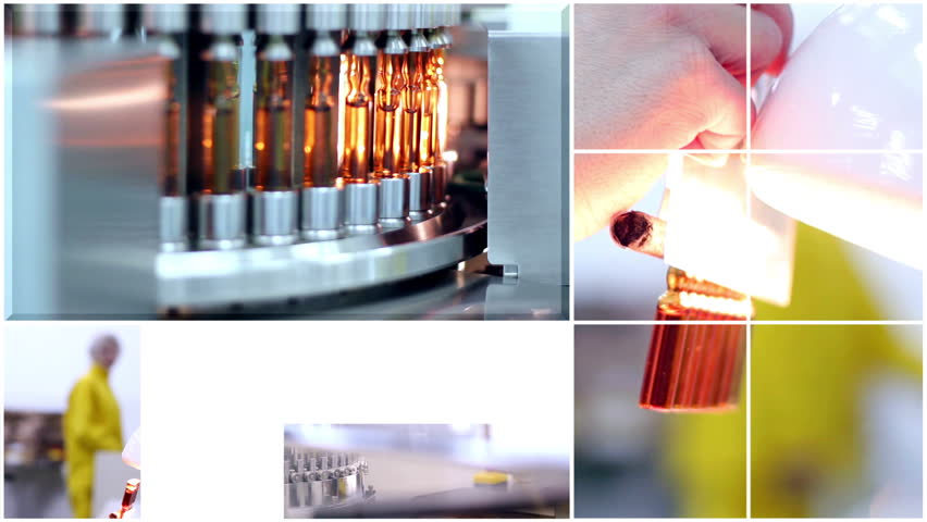 Medical Ampules - Montage. Pharmaceutical industry. Medicine manufacturing. Animation of composite image - split screen- presenting pharmaceutical concept.