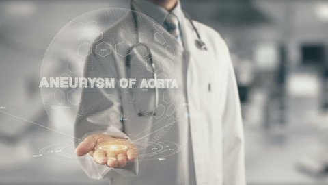 Doctor holding in hand Aneurysm of Aorta