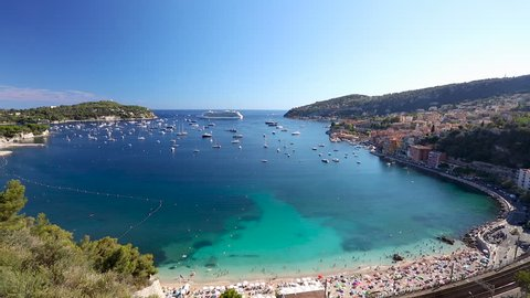 1080P Video clip of boats and cruise ship in the Bay of Villefranche Sur Mer in the Alpes Maritimes department in the Provence Alpes Côte d'Azur region on the French Riviera