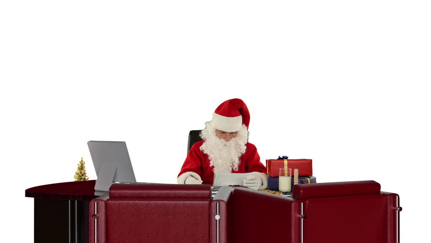 Santa Claus reading letters and sorting presents, against white