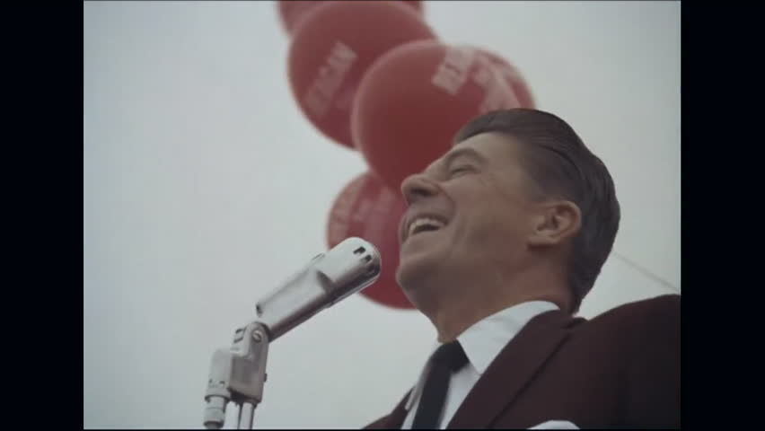 CIRCA 1968 - Campaign rally footage is spliced together of Ronald Reagan and Pat Brown addressing their supporters as both run for the seat of California governor.