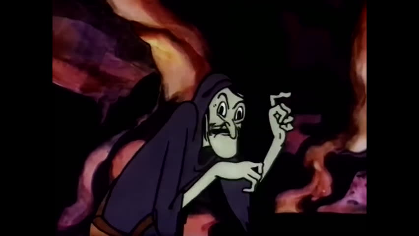 CIRCA 1937 - Animated clip of an evil witch preparing a potion over a fiery caldron.