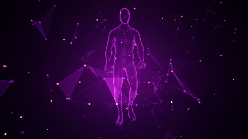 Animation of walking abstract human on colorful background. Animation of seamless loop. | Shutterstock HD Video #31690588