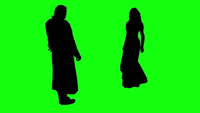 3d rendering animation - silhouettes of people curtsy greeting   on green screen