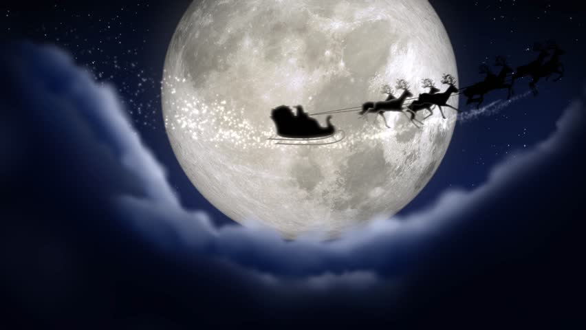 Blue xmas night with moon and clouds with Santa Claus sleight and reindeer silhouette enter and exit flying with text space to place logo or copy.Animated Christmas present greeting post card 4k video