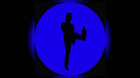Cheerful cool man in the hat is dancing funny on the round blue background. The actor comedian is moving and dancing with accelerated motion. Also available the videos in other colors in portfolio.