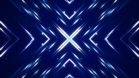 dark blue abstract background, flashing light and particles, loop