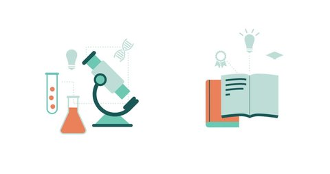 Science, research, education and learning concepts: microscope, books and magnifier with concept icons