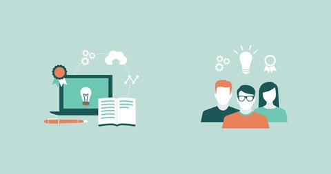 E-learning, education, students, school and technology concepts with concept icons