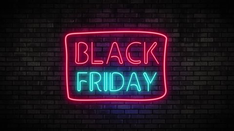 Black Friday Neon Light on Brick Wall. Sale Banner in Night Club Bar Blinking Neon Sign Style. Motion Animation. Video available in 4K FullHD and HD render footage
