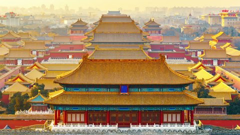4K Zoom in Time-Lapse: China Beijing, Aerial View of Forbidden City at Sunrise.