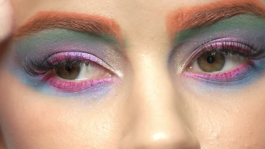 Beautiful Eyes Colorful Makeup Green Stock Footage Video 100