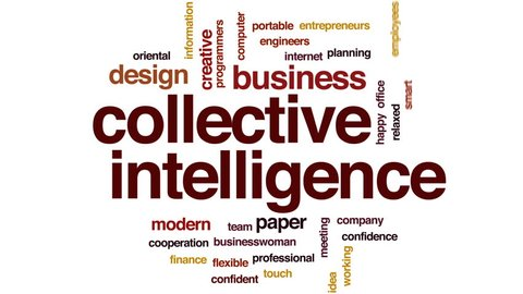 Collective intelligence animated word cloud, text design animation.