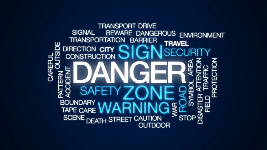 Danger animated word cloud, text design animation. #31806517