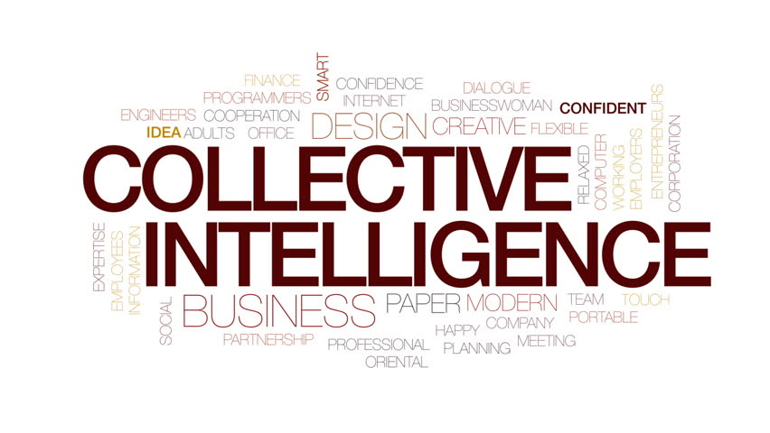 Collective intelligence animated word cloud, text design animation. Kinetic typography.