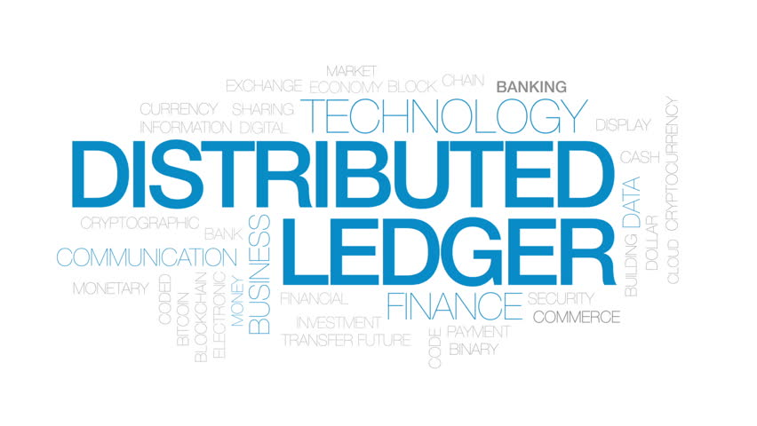 Distributed ledger animated word cloud, text design animation. Kinetic typography.