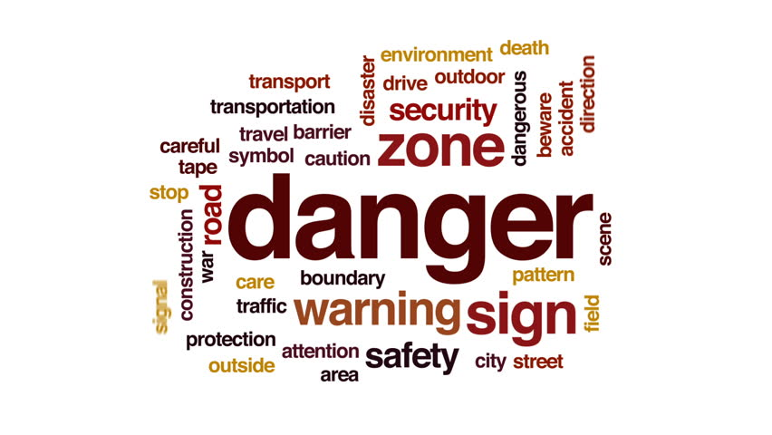 Danger animated word cloud, text design animation. #31825096