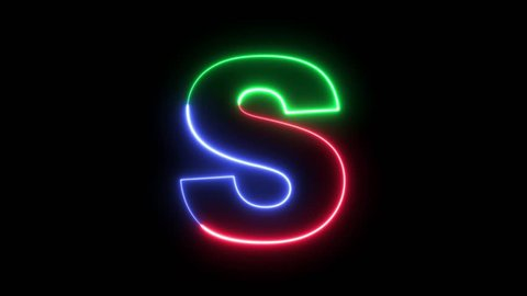 Letter S - RGB laser outline in three colors looping on black background in 4k