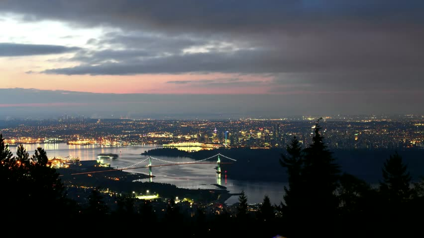 A high angle view of downtown Vancouver, the Lions Gate Bridge,British Columbia, Canada. | Shutterstock HD Video #31857595