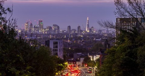 Sunrise over London looking towards the city from Archway