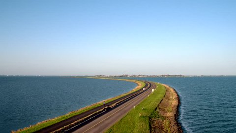 Aerial view of the road to the island Marken, a historic and traditional village next to Volendam, The Netherlands.