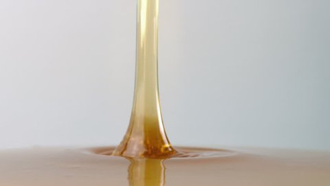 Syrup Pouring Side View Closeup