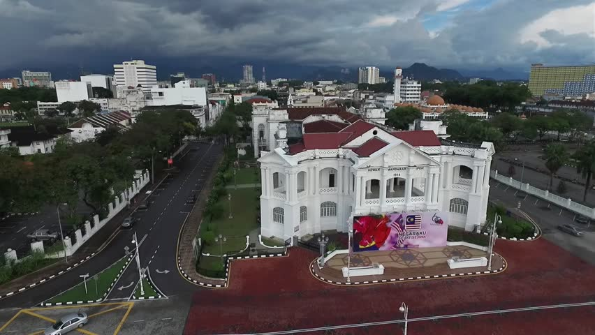 1st October 2017,Ipoh,Malaysia.Aerial video of Dewan Bandaraya Ipoh is a historic building in the heart of Ipoh completely build in year 1916.
