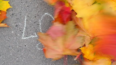 Colourful maple leaves fly away on wind gust, expose chalk written text 'LOVE' on sidewalk asphalt. Beautiful autumn season and romantic mood. Reveal and confession concept, love is in the air