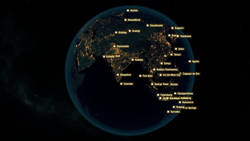 Cities of the World. City Names Appears on the Globe with Night Lights. Each City Name is Visible during 2 Seconds. The High-Resolution Texture of City Lights. 4k.