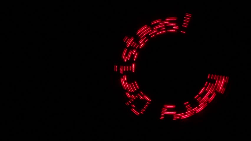 "Stylish footage with the inscription ""Merry Christmas"" glows red and moves in a circle on a black background. 