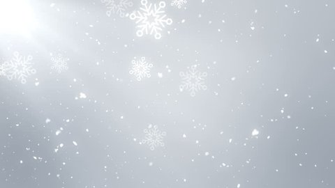 Christmas animation background motion graphics (white theme), with bokeh glittering, particles snowflakes and shine lights, looped.