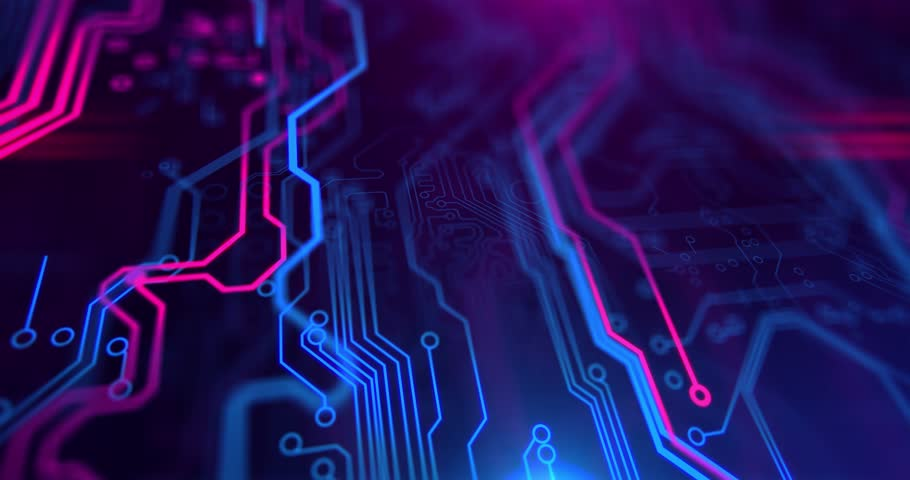 Purple, violet, blue neon background with digital integrated network technology. Printed circuit board. 3D video. Circuit board futuristic server code processing. PCB, Code, HTML.v