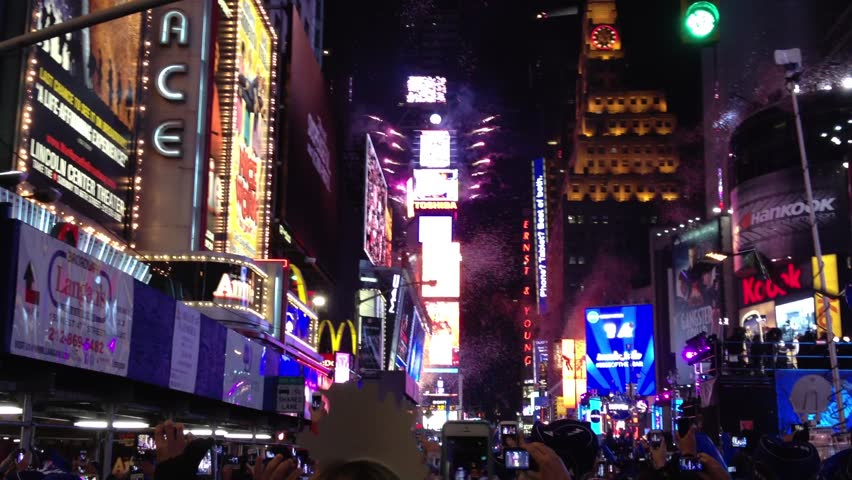 NEW YORK - December 31, 2012: New Year's countdown in Times Square and ball drop December 31, 2012.