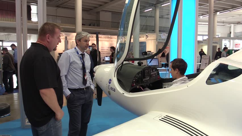 PRAGUE, CZECH REPUBLIC, OCTOBER 1, 2017: Flying Phoenix Air U-15 AFL, a full-flight airplane equipped with an integrated sensor system optoelectronic radar exchanges, people exhibition and trade fair