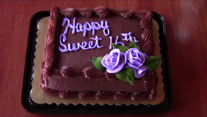 Sweet Sixteen Birthday Cake Stock Footage Video 100 Royalty Free