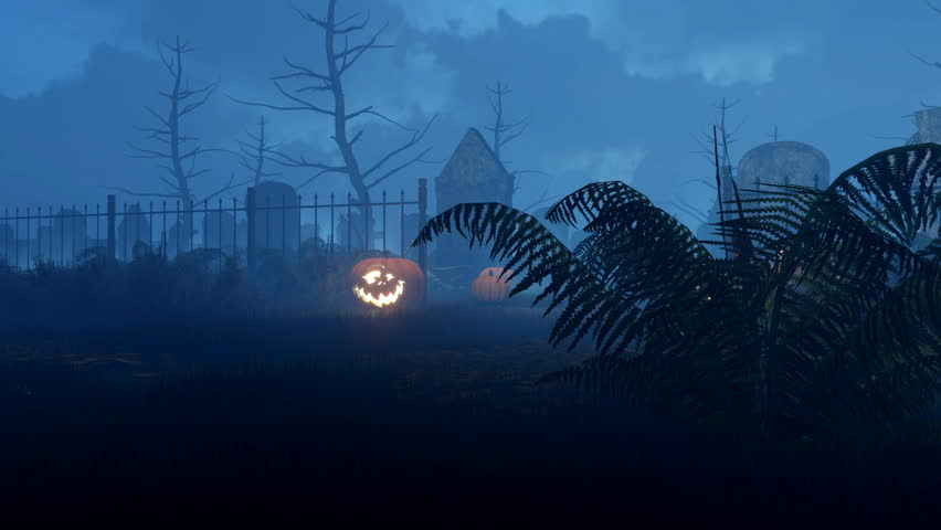 Jack-o-lantern halloween pumpkins at entrance to abandoned scary graveyard and lighted candles near old decaying tombstone at misty night. Low angle shot 3D animation rendered in 4K