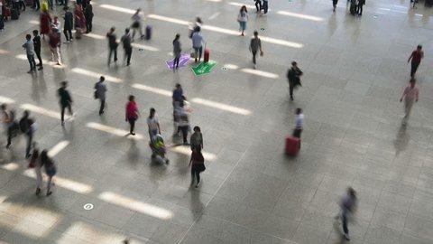 SHANGHAI - CIRCA OCT 2017: Shanghai railway station at rush hour circa October 2017 in Shanghai, China.