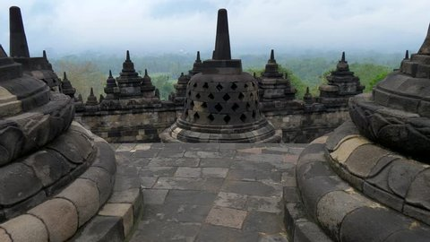 Borobudur Temple in the morning.  Java, Indonesia. UHD