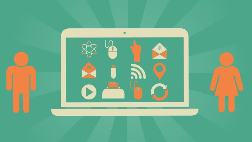 Infographic symbols reflecting means of communication and communication via the Internet  and modern technical devices on a computer screen,video animation on a green background  | Shutterstock HD Video #32031865