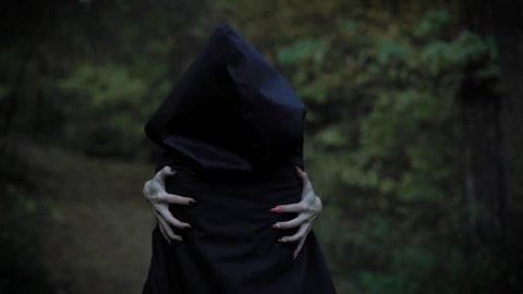 a woman in a cloak with a hood embraces herself behind her hands with long nails, like a witch, a mystical lady walks straight through the park